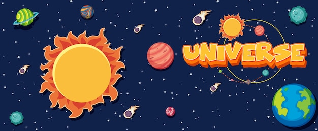 Poster met veel planeten in het zonnestelsel