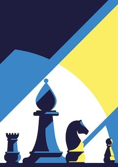 Poster met verschillende schaakstukkenillustratie