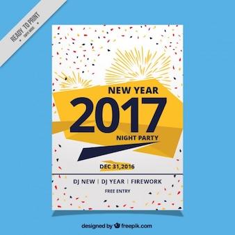 Poster met vuurwerk voor feest het nieuwe jaar 2017