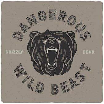 Poster met wilde beer illustratie