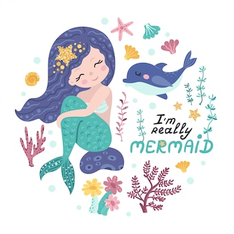 Poster met zeemeermin, zeedieren en belettering