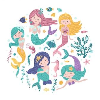 Poster met zeemeerminnen en zeedieren