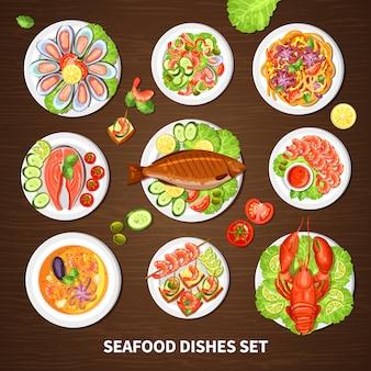 Poster met zeevruchten gerechten set