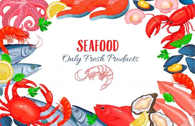 Poster met zeevruchtenproducten