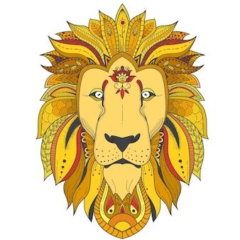 Poster met zenart patroon leeuw