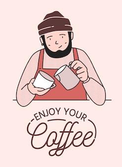 Poster of kaartsjabloon met schattige lachende barista die koffie zet en geniet van je koffiewens. grappige gelukkig bebaarde man drankjes serveren voor klanten bij coffeeshop. illustratie in lijnstijl.