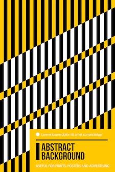 Poster ontwerpsjabloon met zwarte, witte en gele strepen in kleurrijke retro minimalisme stijl.