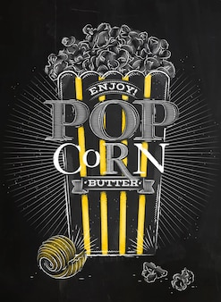 Poster popcorn boter zwart