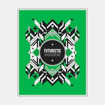 Poster / print ontwerpsjabloon met symmetrisch abstract element op kleurrijke achtergrond.