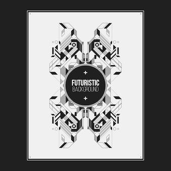 Poster / print ontwerpsjabloon met symmetrische abstract element op witte achtergrond. handig voor boekomslagen en tijdschriftomslagen.