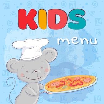 Poster schattige muis met pizza. handtekening. vector illustratie cartoon stijl