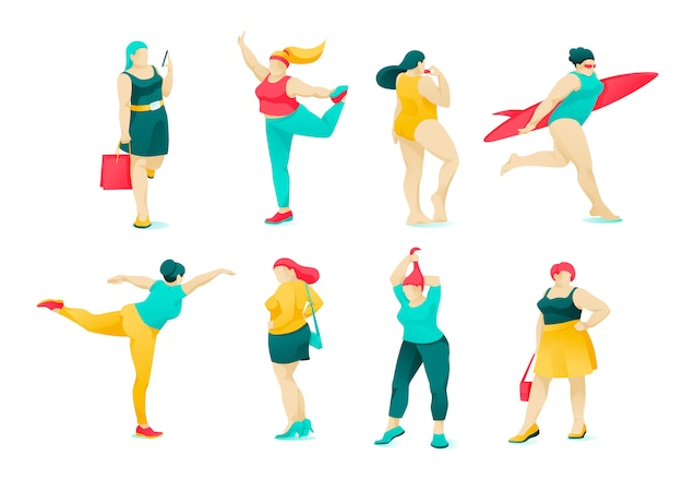 Poster set action and character obese women flat