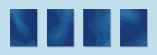 Poster set met papier gesneden stijl met klassieke blauwe kleur