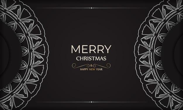 Poster sjabloon gelukkig nieuwjaar en vrolijk kerstfeest in zwarte kleur met wit patroon.