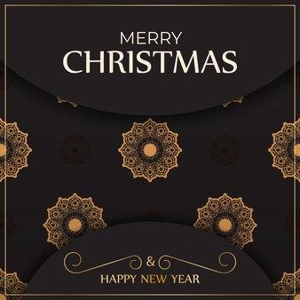 Poster sjabloon happy new year en merry christmas witte kleur met winter patroon.