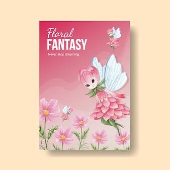 Poster sjabloon met bloemen karakter concept aquarel illustratie