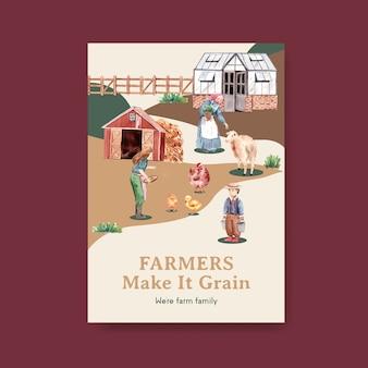 Poster sjabloon met boerderij biologische conceptontwerp aquarel illustratie.