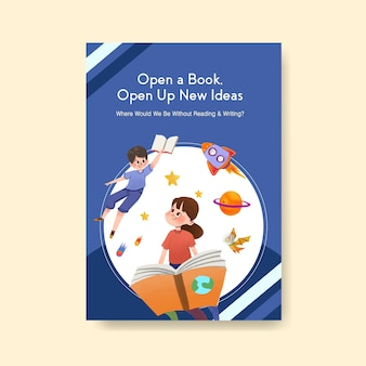Poster sjabloon met conceptontwerp van de internationale dag van de alfabetisering