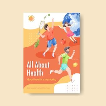 Poster sjabloon met conceptontwerp wereld geestelijke gezondheid dag