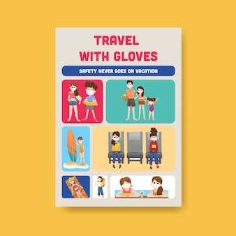 Poster sjabloon met covid-19 preventie conceptontwerp voor een nieuwe normale levensstijl.
