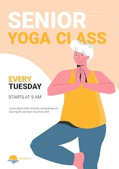 Poster sjabloon met een vrolijke oudere vrouw die yoga doet in de lokale yogales