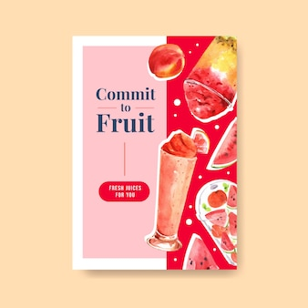 Poster sjabloon met fruit smoothies concept