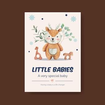 Poster sjabloon met hallo baby concept