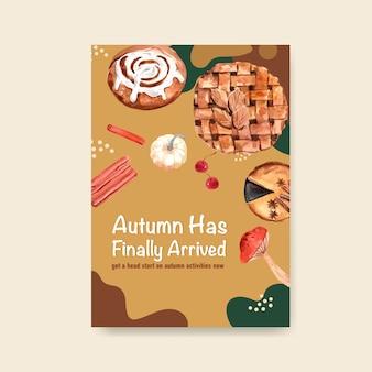 Poster sjabloon met herfst dagelijkse conceptontwerp voor brochure en folder aquarel