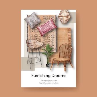 Poster sjabloon met jassa meubelen conceptontwerp voor brochure en advertenties aquarel vectorillustratie