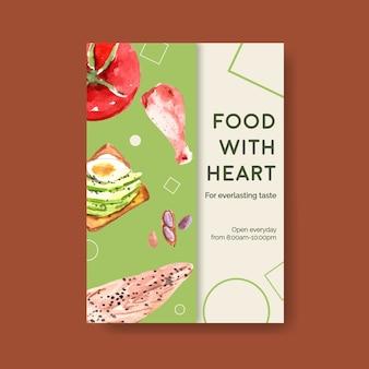 Poster sjabloon met ketogeen dieet concept voor adverteren en brochure aquarel illustratie.