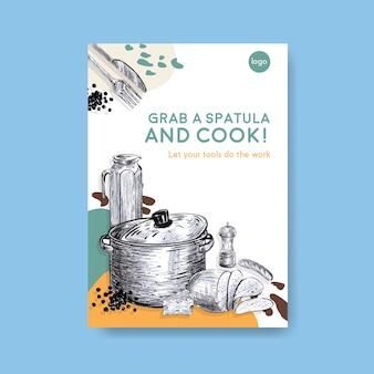 Poster sjabloon met keukenapparatuur conceptontwerp voor adverteren vectorillustratie