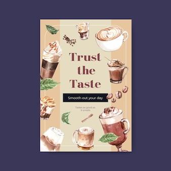 Poster sjabloon met koreaanse koffie stijl concept voor adverteren en marketing aquarel