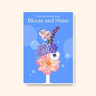 Poster sjabloon met lente heldere concept aquarel illustratie