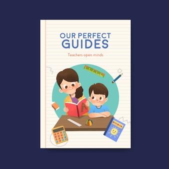 Poster sjabloon met leraar dag conceptontwerp voor brochure en folder