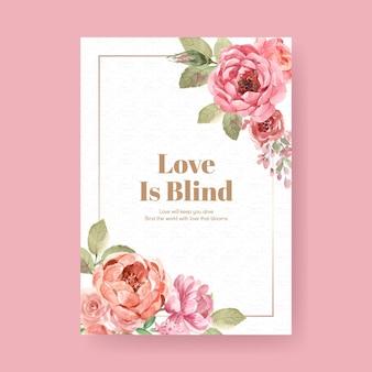Poster sjabloon met liefde bloeiende conceptontwerp voor adverteren en marketing aquarel illustratie