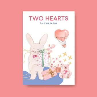 Poster sjabloon met liefdevolle je conceptontwerp voor adverteren en brochure aquarel illustratie