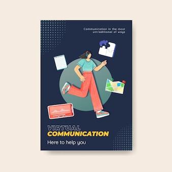 Poster sjabloon met live gesprek concept, aquarel stijl