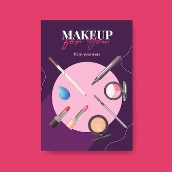 Poster sjabloon met make-up conceptontwerp voor brochure en folder aquarel.