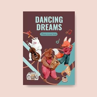 Poster sjabloon met muziekfestival conceptontwerp voor brochure en marketing aquarel vectorillustratie