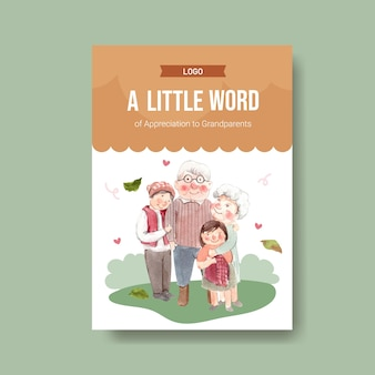Poster sjabloon met nationale grootouders dag conceptontwerp voor adverteren en brochure aquarel vector.