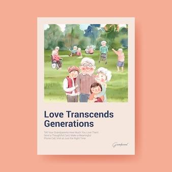 Poster sjabloon met nationale grootouders dag conceptontwerp voor adverteren en brochure aquarel.