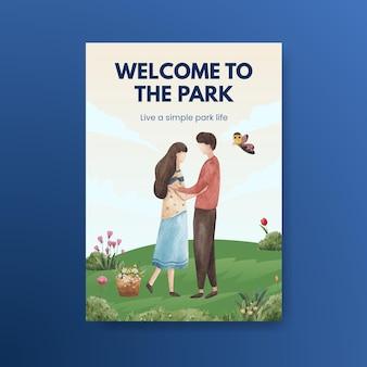Poster sjabloon met park en familie conceptontwerp voor folder en brochure aquarel illustratie