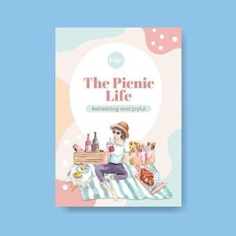 Poster sjabloon met picknick reizen concept voor adverteren aquarel illustratie