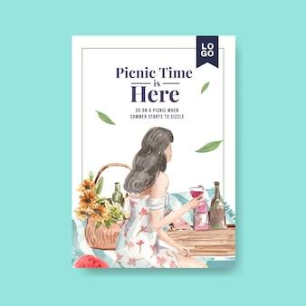 Poster sjabloon met picknick reizen concept
