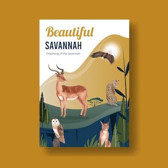 Poster sjabloon met savanne wildlife concept aquarel illustratie