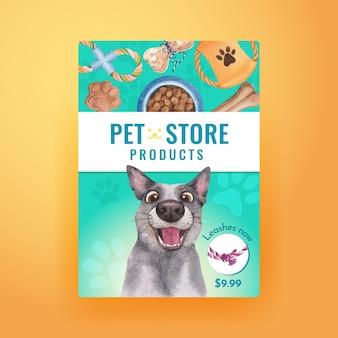 Poster sjabloon met schattige hond concept, aquarel stijl