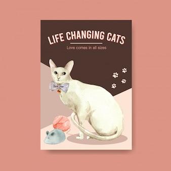 Poster sjabloon met schattige kat