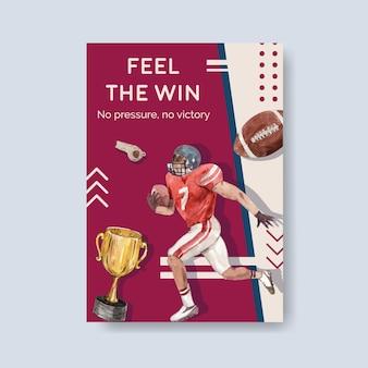 Poster sjabloon met super kom sport conceptontwerp voor brochure en adverteren aquarel vectorillustratie.