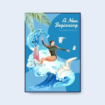 Poster sjabloon met surfplanken op het strand