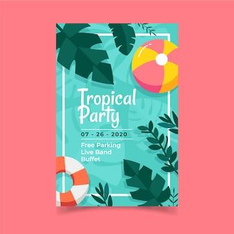 Poster sjabloon met tropische partij